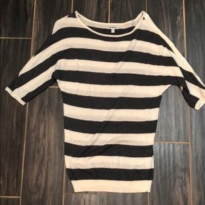 EXPRESS gray and white striped top